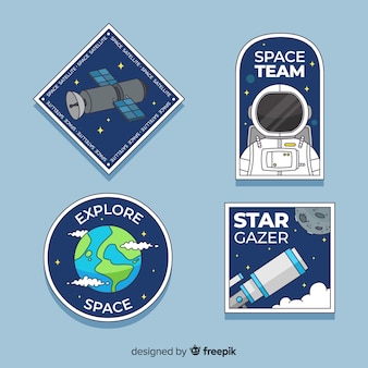 Pack of colorful astronomic stickers