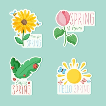 Pack of colorful badges with spring thematic