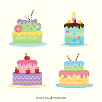 Pack of colorful birthday cakes