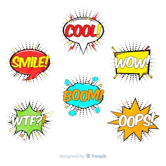 Pack of colorful comic speech bubbles