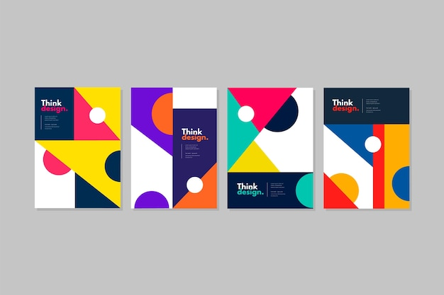 Pack of colorful covers with abstract shapes
