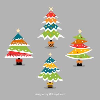Pack of colorful geometric christmas trees in flat design