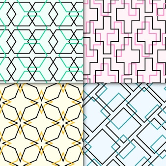 Pack of colorful geometric drawn patterns