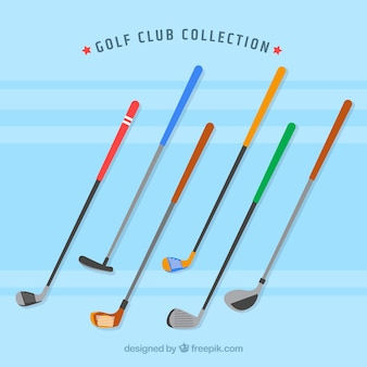 Pack of colorful golf clubs