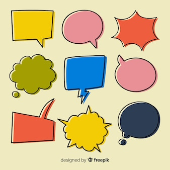 Pack of colorful hand drawn speech bubbles