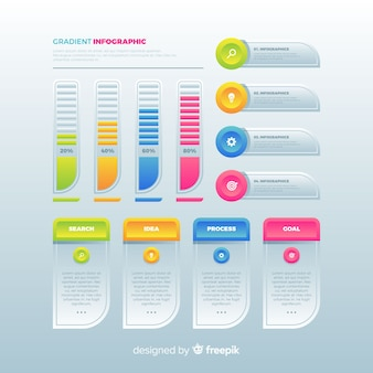 Pack of colorful infographic flat design
