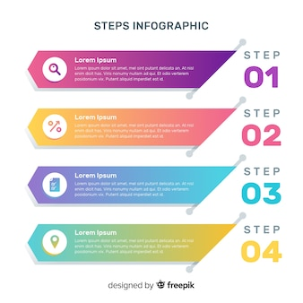 Pack of colorful infographic steps