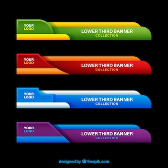 Pack of colorful lower thirds  in flat design