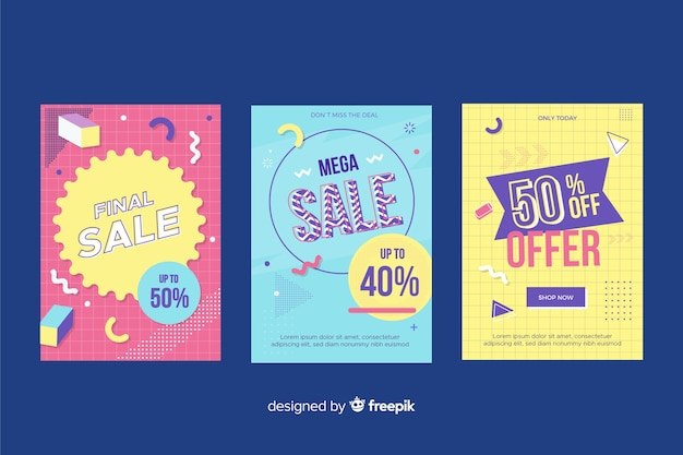 Pack of colorful memphis sale banners