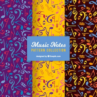 Pack of colorful musical notes patterns