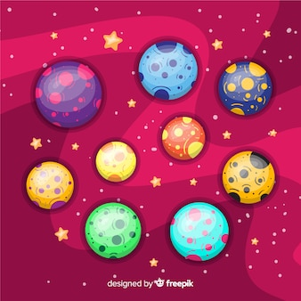 Pack of colorful planets from solar system