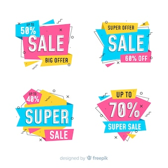 Pack of colorful sale banners in memphis style