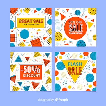 Pack of colorful sales banner memphis style