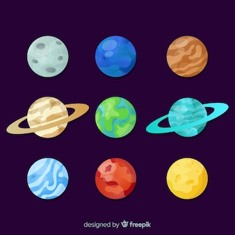 Pack of colorful solar system planets