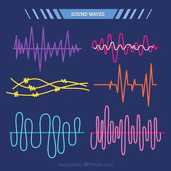 Pack of colorful sound waves