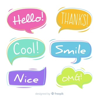 Pack of colorful speech bubbles with different expressions