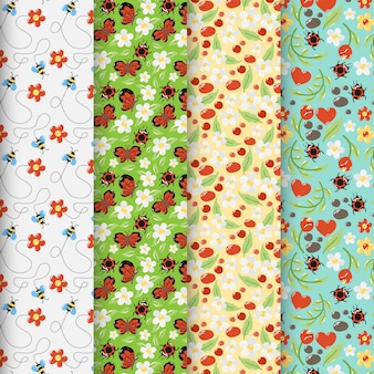 Pack of colorful spring patterns