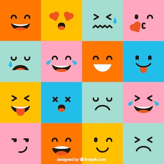 Pack of colorful square emoticons Premium Vector