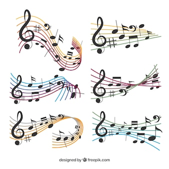Confezione di dita colorate e note musicali