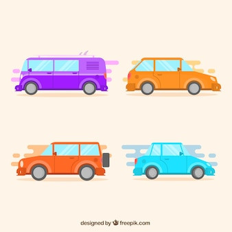 Pack of colorful vehicles in retro style