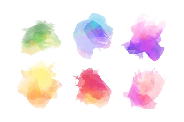 Pack of colorful watercolor stains