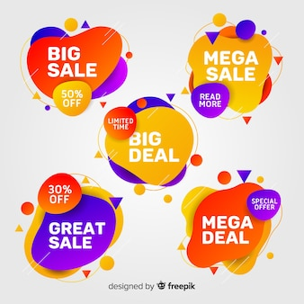 Pack of colourful abstract sale banners