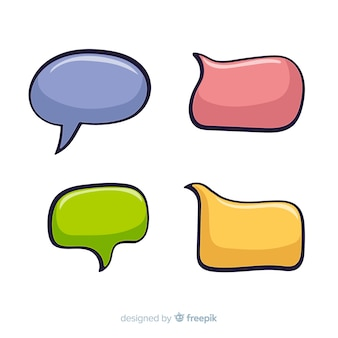 Pack of colourful comic speech bubbles
