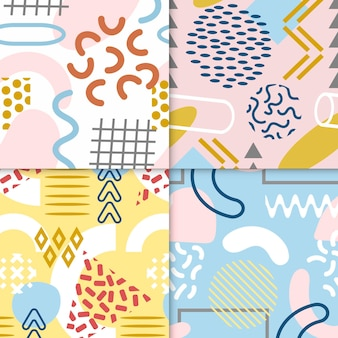 Pack of colourful memphis patterns