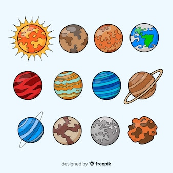 Pack of colourful milky way planets