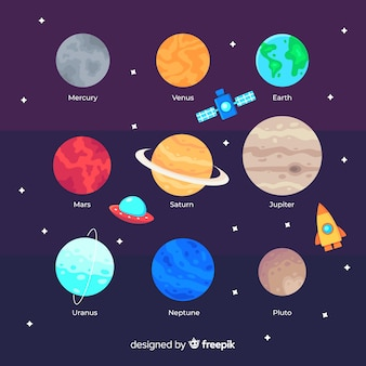 Pack of colourful planets in the solar system
