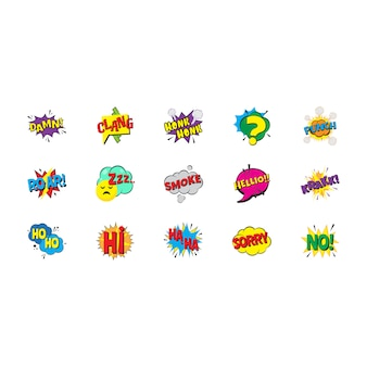 Pack of comic pop art bubbles