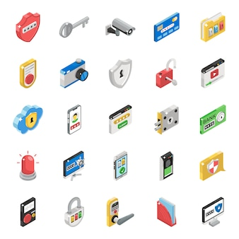 Pack of communication isometric icons
