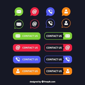 Pack of contact buttons and icons