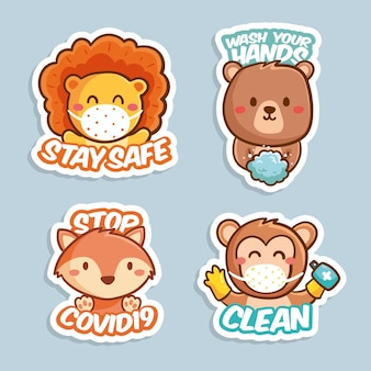 Pack of coronavirus concept stickers with cute animals
