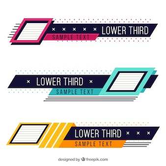Pack of creative colorful lower thirds