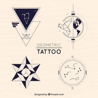 Pack of creative geometric tattoos