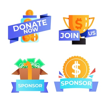 Pack of creative sponsoring labels