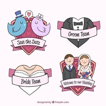 Pack of creative wedding badges