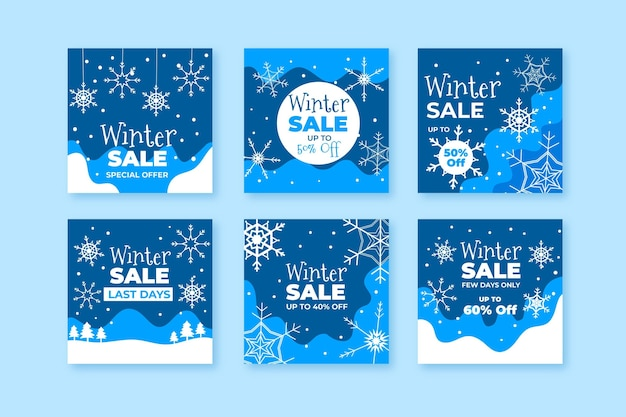 Pack of creative winter sales posts