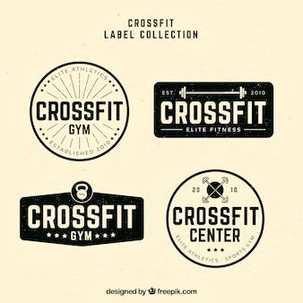 Pack of crossfit stickers in vintage design