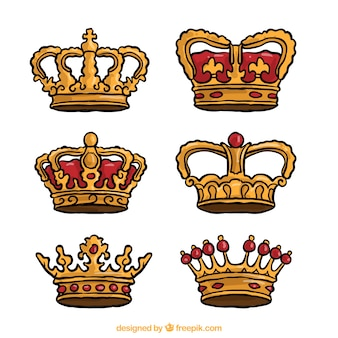 Pack of crowns with red elements