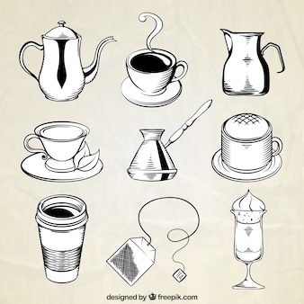 Confezione di tazze e altri oggetti di caffè disegnati a mano