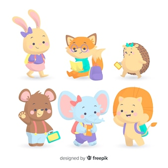Pack of cute animals ready to study