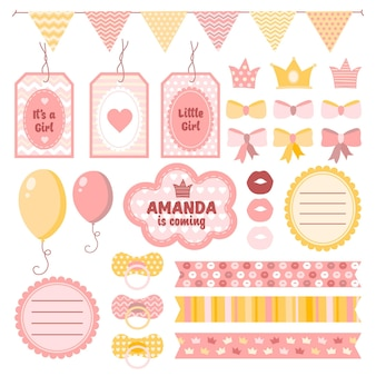 Pack of cute baby shower scrapbook elements
