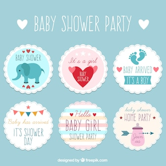 Pack of cute baby shower stickers