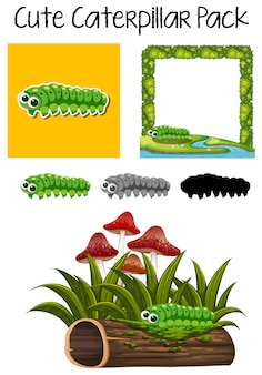 A pack of cute caterpillar