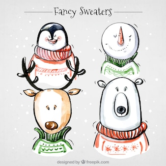 Pack of cute christmas characters with sweaters