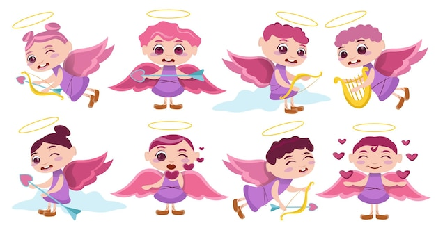 Pack of cute cupid character illustration