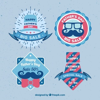 Pack of cute father's day offer badges in vintage design