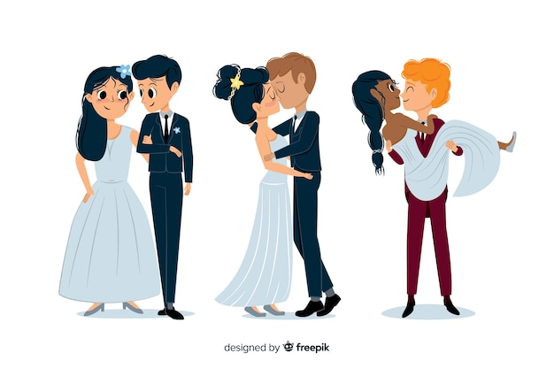 Pack of cute hand drawn wedding couple